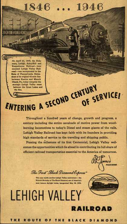 Lehigh Valley Railroad's The Black Diamond – 1846...1946 Entering A Second Century Of Service (1946)