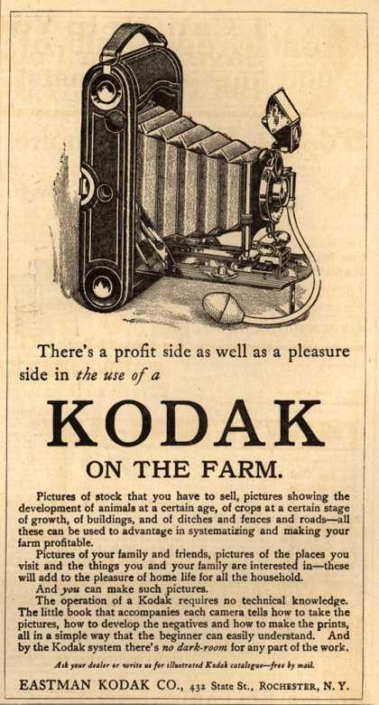 Kodak – There's a profit side as well as a pleasure side in the use of a Kodak on the farm. (1912)
