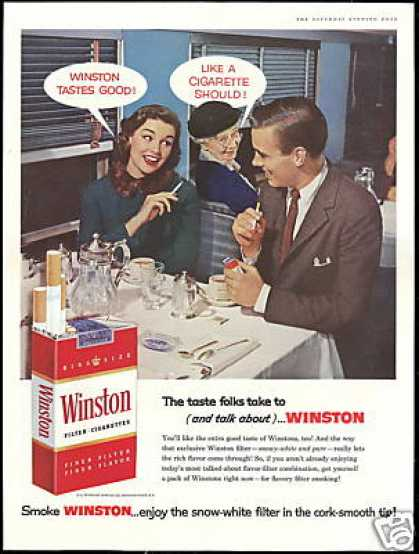 Winston Cigarettes Smoking Restaurant Photo (1957)