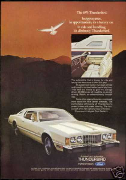 White Ford Thunderbird Photo Vintage (1973)