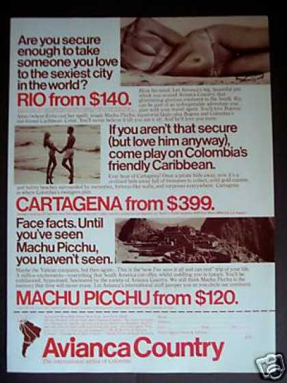 Avianca Airline of Columbia Machu Picchu Travel (1979)