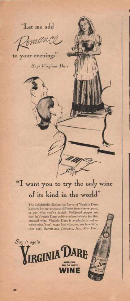 Virginia Dare Red & White Wine (1946)