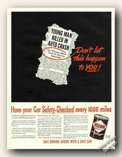 Veedol Motor Oil Defective Automobiles Warning (1938)