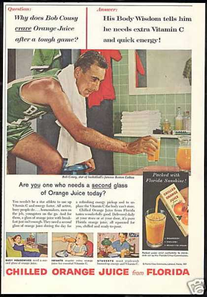 Florida Orange Juice Basketball Bob Cousy (1957)