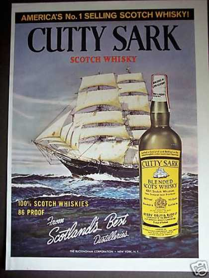 Cutty Sark Scotch Whisky Ship Art Lg Color (1964)