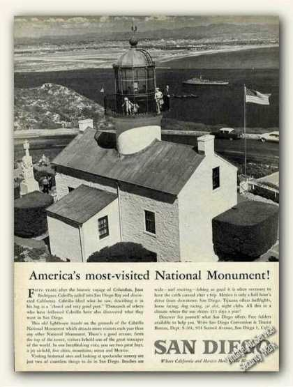 Cabrillo Monument Lighthouse Photo San Diego (1961)