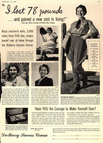 "Richard Hudnut's DuBarry Success Course – ""I lost 78 pounds...and gained a new zest in living!"" (1941)"