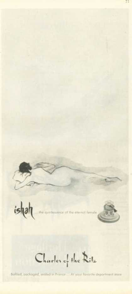 Charles of the Ritz Ishah Perfume Nude Drawing (1955)