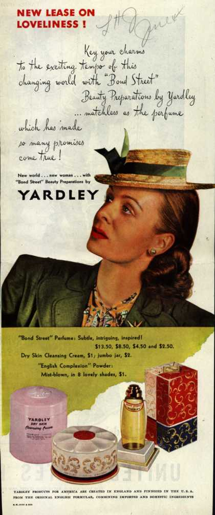 Yardley of London's Bond Street Beauty Preparations – New Lease On Loveliness (1944)