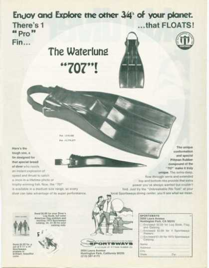 Sportsways Waterlung 707 Scuba Diver Diving Fin (1973)
