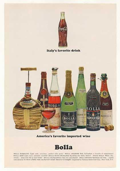 Coca-Cola Italy Favorite Drink Bolla Wine (1966)