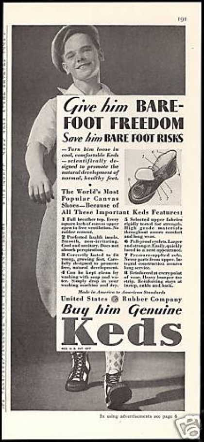 U.S Rubber Co Keds Shoes Vintage Photo (1933)