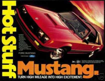 Red Ford Mustang T-Top Car Hot Photo (1981)