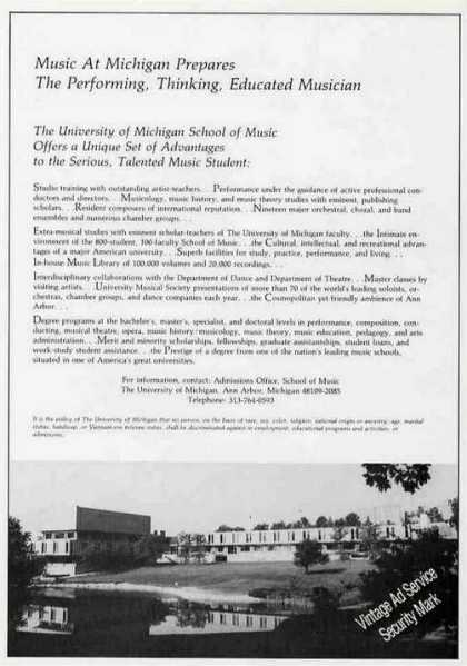 University of Michigan School of Music Photo (1986)