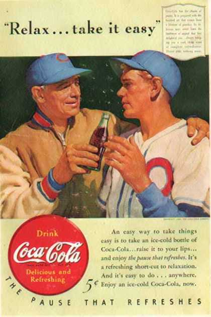 Coke – Relax... take it easy / Baseball's CUBS colors (1940)
