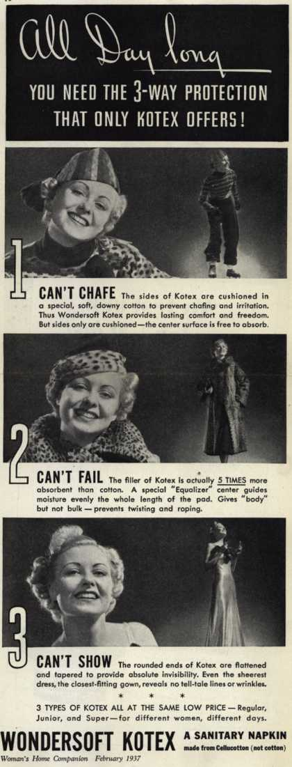 Kotex Company's Wondersoft Kotex – All Day Long, You Need The 3-Way Protection That Only Kotex Offers (1937)