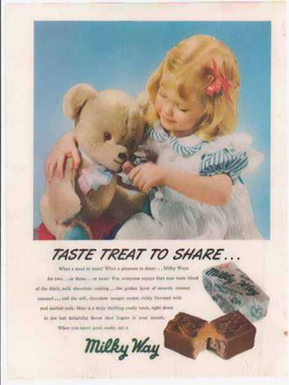 Milky Way Candy Bar – Little girl sharing with her teddy bear (1948)