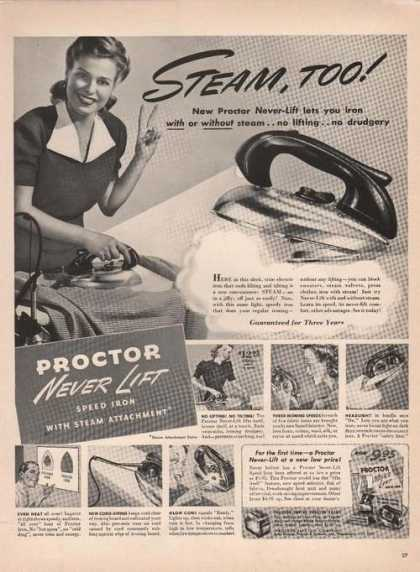 Proctor Never Lift Steam Iron (1941)