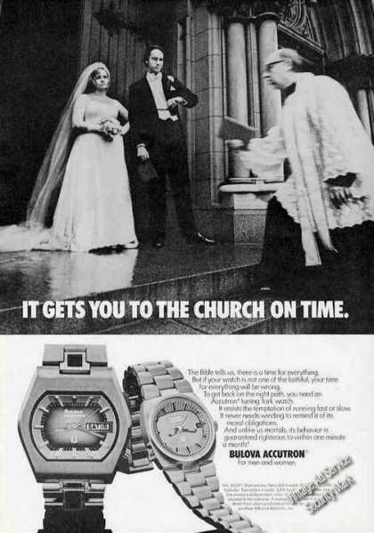 Bulova Accutron Gets You To the Church On Time (1974)