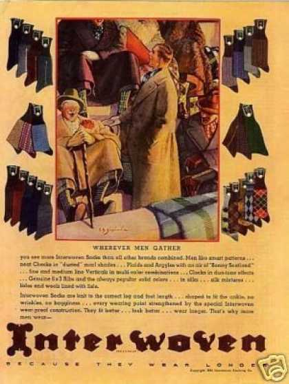 Interwoven Socks Color Ad Shepherd Art (1934)