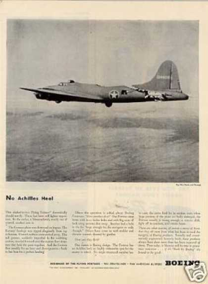 "Boeing Flying Fortress Ad ""No Achilles Heel... (1943)"