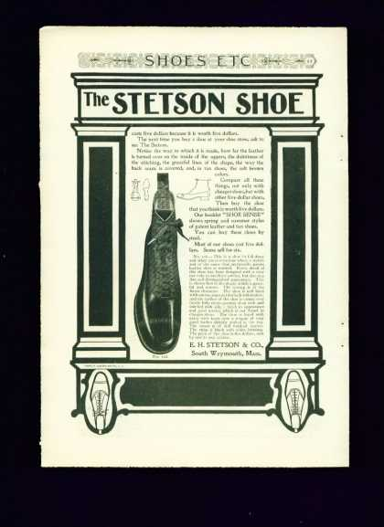 The Stetson Shoe No. 108 C Ad Art Nouveau Styled (1910)