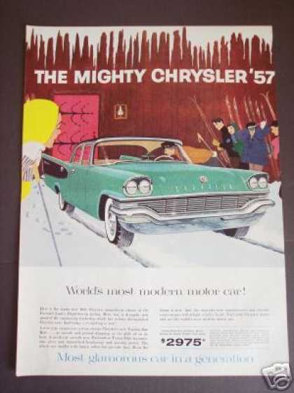 Original Chrysler '57 Windsor Car Skiing Art (1956)