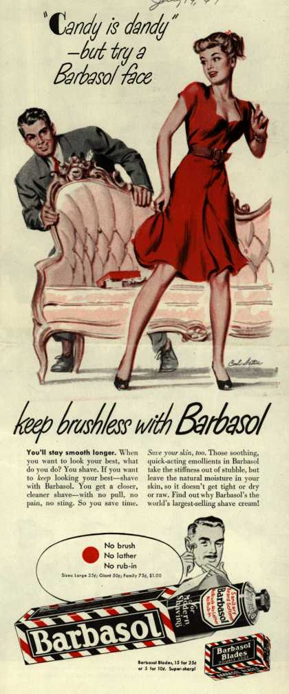 """Barbasol – """"Candy is dandy""""- but try a Barbasol face (1947)"""