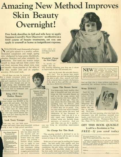 Thompson Barlow Co.'s Susanna Cocroft's Beauty Treatment – Amazing New Method Improves Skin Beauty Overnight (1925)