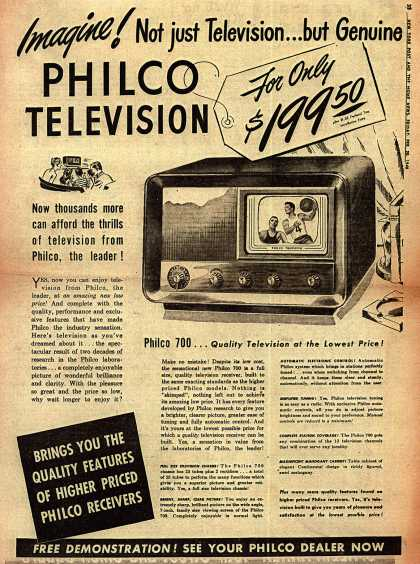 Philco's Television – Imagine! Not just Television... but Genuine PHILCO TELEVISION (1948)