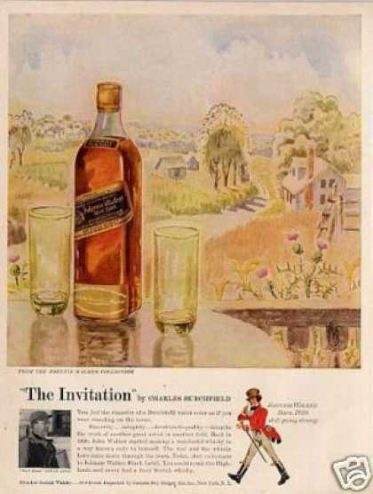 Johnnie Walker Scotch Whisky Ad C. Burchfield Art (1957)