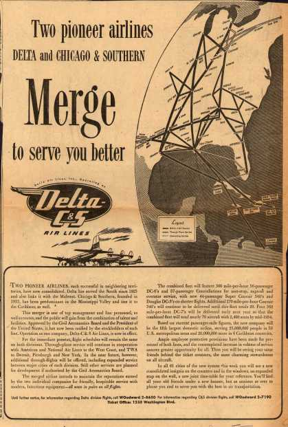 Delta Air Lines Incorporated's Delta C&S Air Lines – Two Pioneer Airlines Delta and Chicago & Southern Merge to Serve You Better (1953)