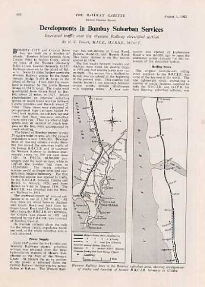 """Bombay Suburban Services"" Article/western (1955)"