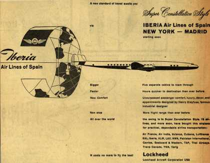Lockheed Aircraft Corporation's Super Constellation – Super Constellation Style Iberia Air Lines of Spain New York-Madrid starting soon (1954)