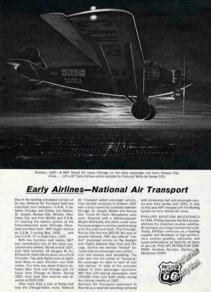 Phillips 66 Ad With 1927 Nat Travel Air Pic (1964)