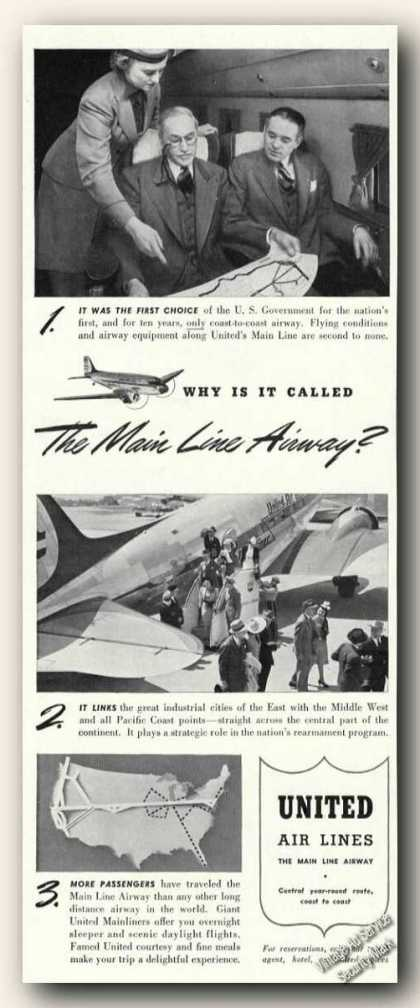 United Air Lines Ad With Route Map (1941)