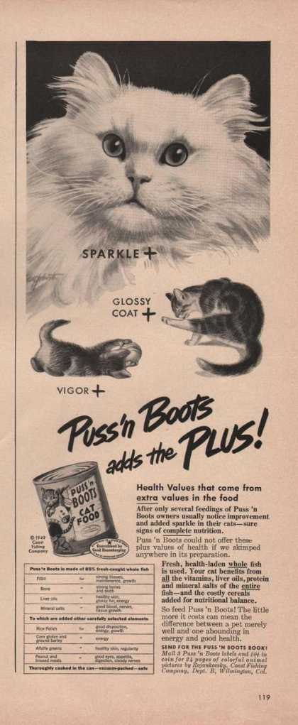 Puss N Boots Adds the Plus Cat Food Print (1949)