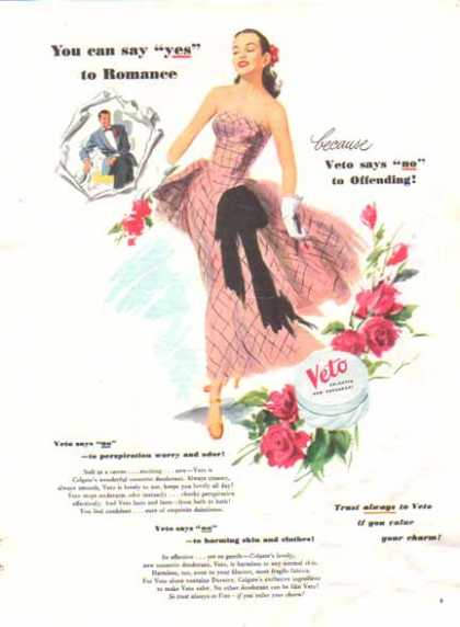 Veto Deodorant – by Colgate – Pink and Black Gown (1948)