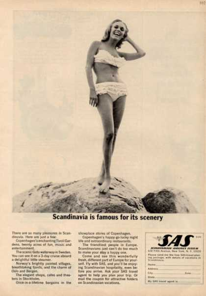 Sas Scandinavian Airlines Pretty Girl Swimsuit (1964)