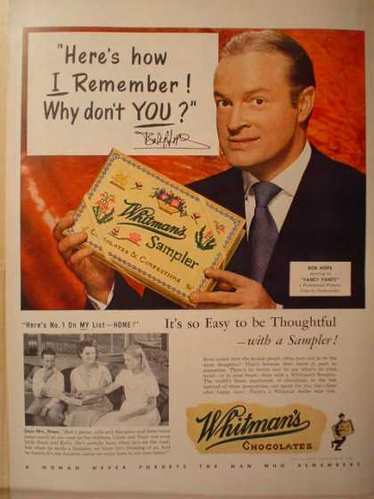 Whitman's Chocolate Sampler Bob Hope (1950)