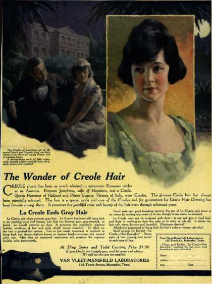 Van Vleet-Mansfield Laboratorie's La Creole Hair Dressing – The Wonder of Creole Hair (1919)