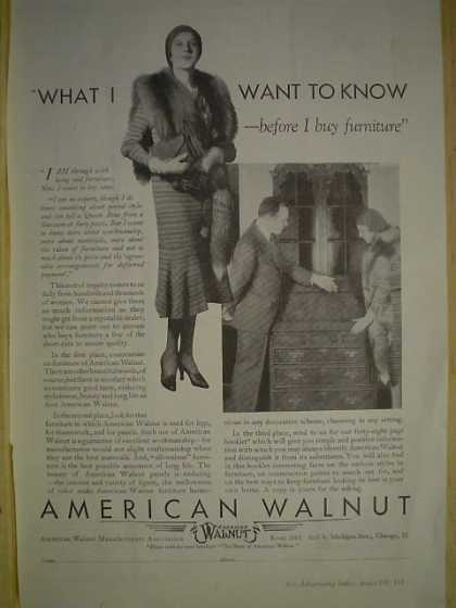 American Walnut Furniture Before I buy furniture (1930)