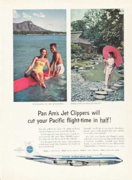 Pan American Airlines Jet Clipper Ad Surf Board (1959)