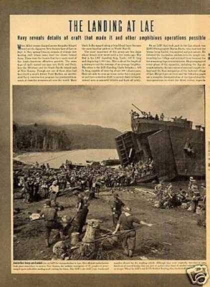 """The Landing at Lae"" ~~~7 Page Article (1943)"