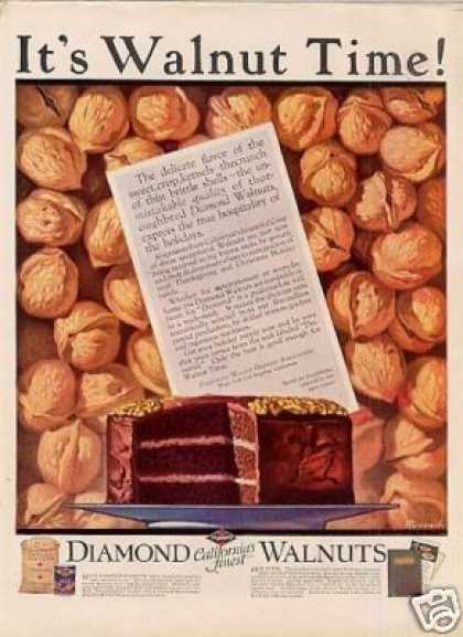 Diamond Walnuts Color Ad Ruttan Art (1925)