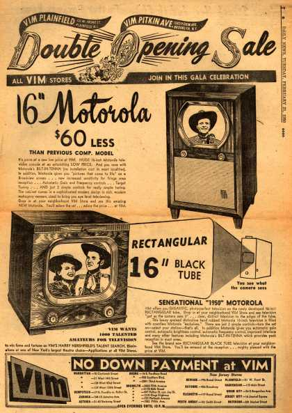 Motorola's Television – Double Opening Sale (1950)