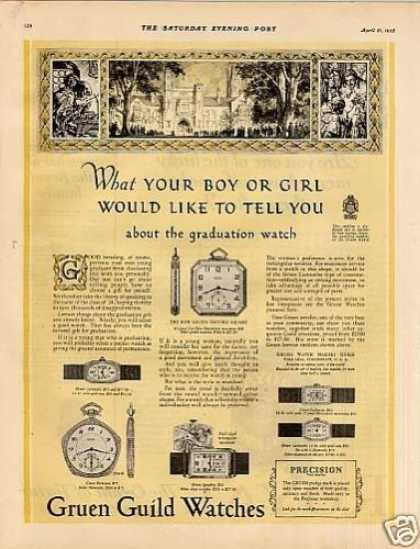 "Gruen Watches Ad ""What Your Boy or Girl... (1928)"