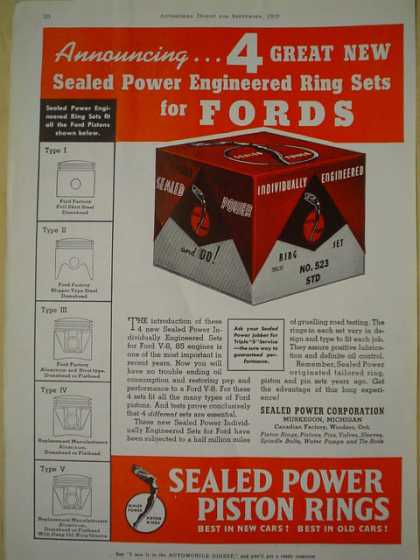 Sealed Power piston Rings. Ring Sets for Fords (1939)