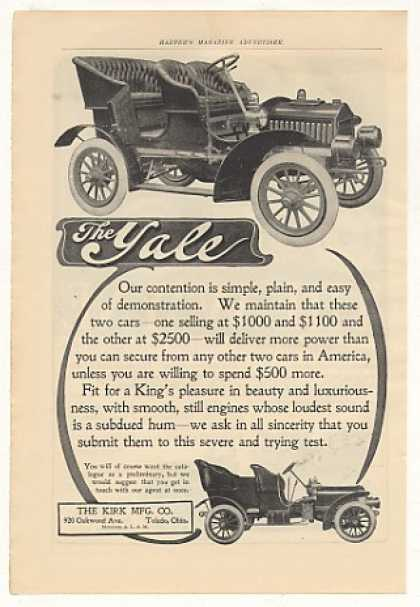 Kirk Mfg Toledo Ohio Yale Automobile Cars (1905)