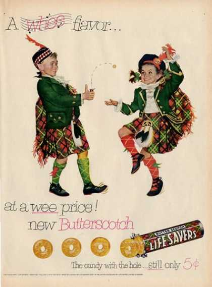 Life Savers Scottish Children Kilt Ad T (1952)